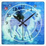 Colorful Unicorn Blue Green Decorative Square Wall Clock