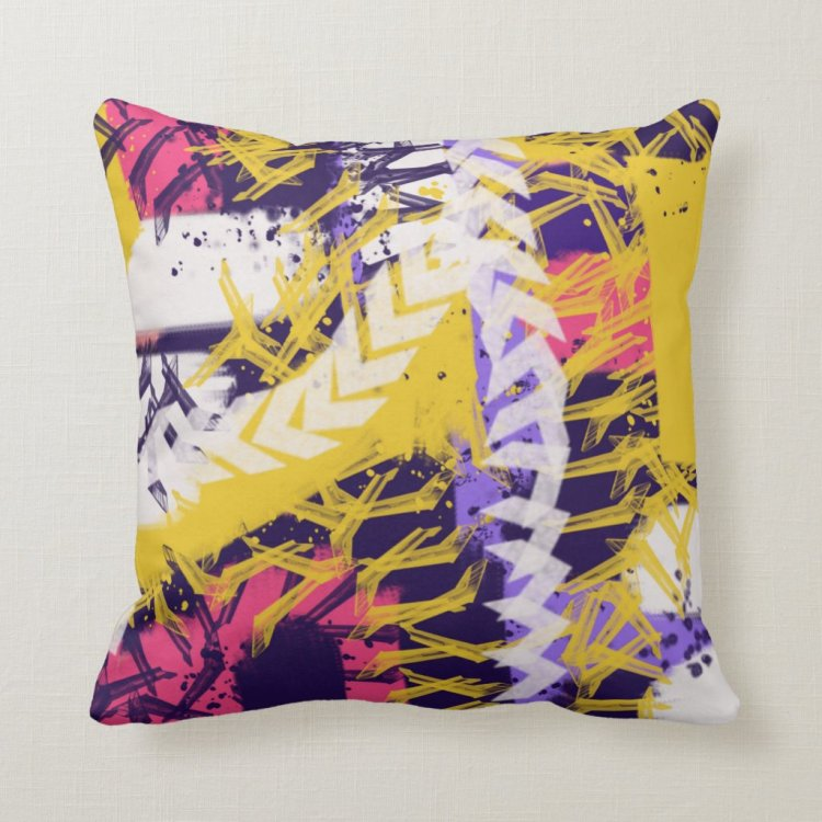 Colorful urban teen decorative pillow
