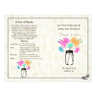 Colorful Zinnia Mason Jar Wedding Program