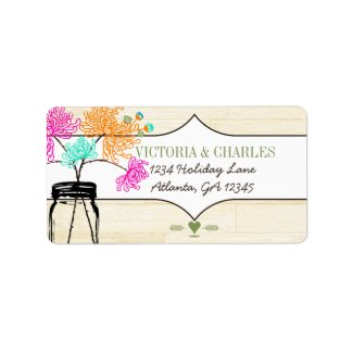 Colorful Zinnia Mason Jar Wild Flower Wedding Address Label
