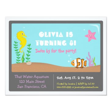 Colourful Aquarium Kids Birthday Party Invitations