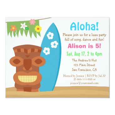 Colourful Hawaii Tiki Luau Beach Birthday Party Card