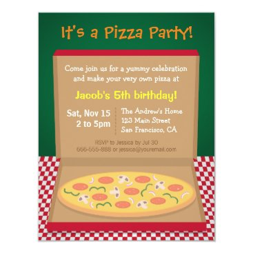 Colourful Pizza Kids Birthday Party Card
