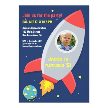 Colourful Rocket Space Party Kids Birthday Photo Invitation