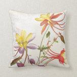 Columbine Floral Botanical Flowers Throw Pillow