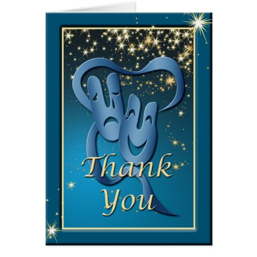 Comedy Tragedy Blue Theatre Mask Thank You Note Card Zazzle