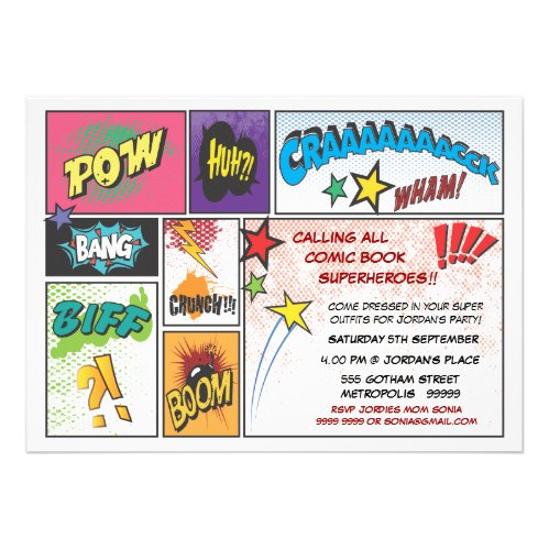 Comic Book Typography Boys Birthday Party Invite