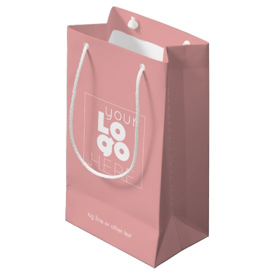 Company Logo Small Pink Custom Paper Shopping Bag