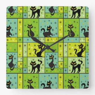 Retro Black Cat Clocks
