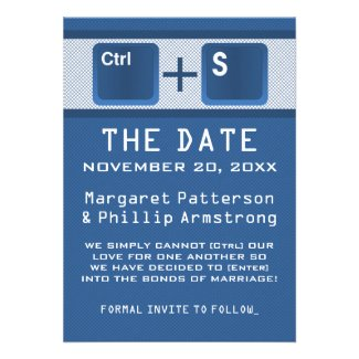 Computer Key Control Save the Date, Blue Custom Invites