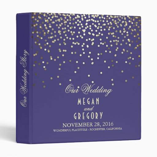Confetti Gold Dots Elegant Navy Wedding Binder