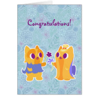 Congratulations Kawaii Dog Puppy Love Yorkies Card