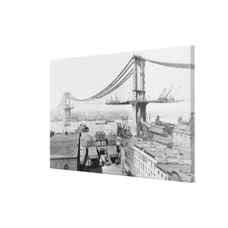 Construction of The Manhattan Bridge (1909) Canvas Print