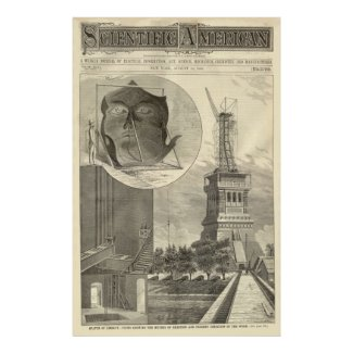 Construction of The Statue of Liberty Illustration Poster