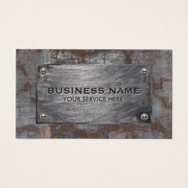 Construction Rusty Metal Plate Professional Business Card