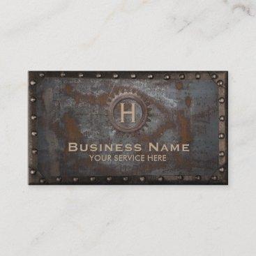Construction Vintage Monogram Rusty Metal Business Card