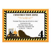 Construction Zone Backhoe Boys Birthday Invite