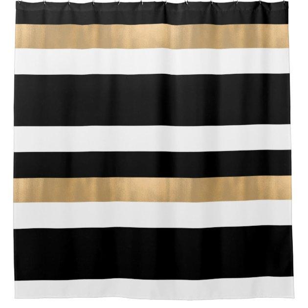 contemporary black white and gold shower curtain zazzle com