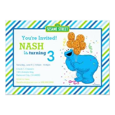 Cookie Monster Striped Birthday Invitation