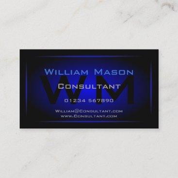Cool Black & Dark Blue Monogram - Business Card