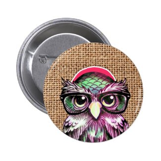 Cool Colorful Tattoo Wise Owl With Funny Glasses Pinback Buttons
