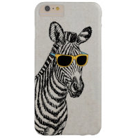 Cool cute funny zebra sketch with trendy glasses barely there iPhone 6 plus case