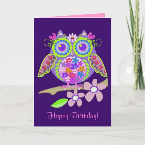 Cool Flower Power Owl Birthday card