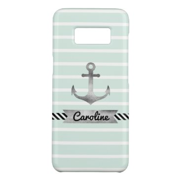 Cool Mint Stripes Watercolor Anchor Custom Case-Mate Samsung Galaxy S8 Case