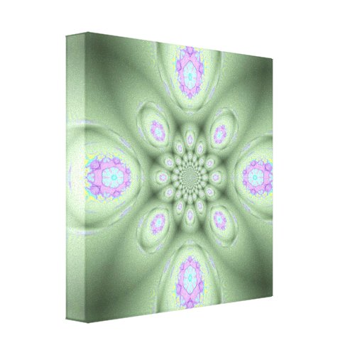 Cool Modern Green Abstract Lavender Petals Canvas Print
