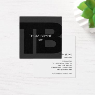 Cool Modern Professional Black 2 Letter Monogram Square Business Card