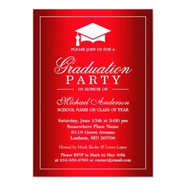 Cool Plain Red Gradient Look Graduate Graduation Card