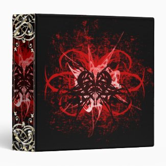 Cool Red and Black Tribal Heart Symbol Design Binders