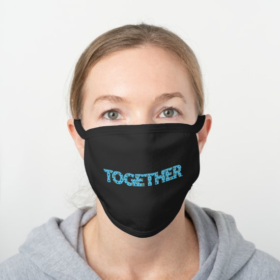 Cool TOGETHER Blue Abstract Star Pattern Black Cotton Face Mask