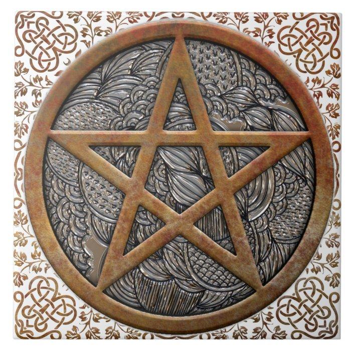 copper pentacle coin celtic knot border square ceramic tile zazzle com