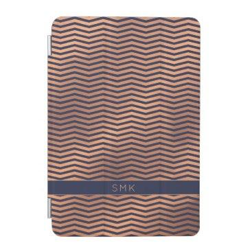 Copper Rose Gold Foil Chevron Navy Blue Monogram iPad Mini Cover