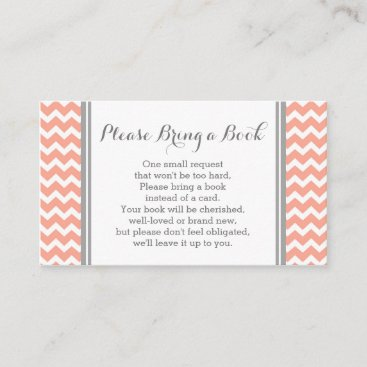 Coral Chevron Baby Shower Book Request Card