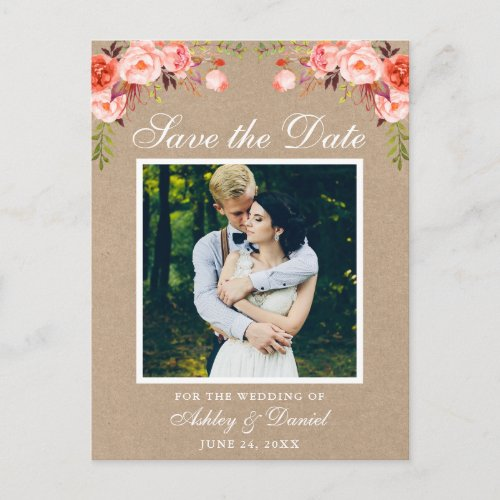 Coral Floral Save the Date Photo Kraft Announcement Postcard