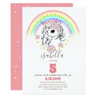 Coral Pink Unicorn RainBow Girl Birthday Cards
