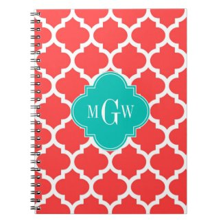 Coral Red Wht Moroccan #5 Teal 3 Initial Monogram