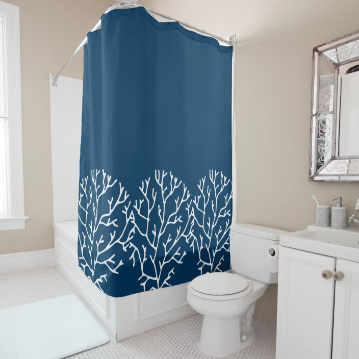 coral reef theme stylish coral pattern teal blue shower curtain zazzle com