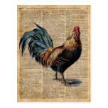 Vintage Dictionary Book Page Cottage Rooster Postcard