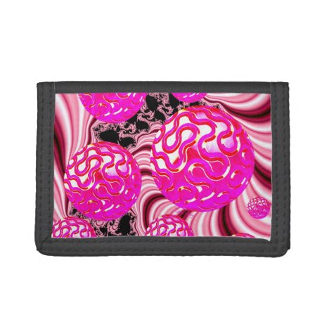 Cotton Candy, Abstract Fractal Pink Rose White Trifold Wallet