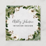 Cotton Greenery Wreath Typography Square Business Card