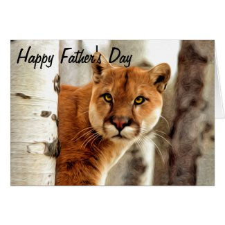 Cougar Photo Painting Happy Father's Day Greeting Card
