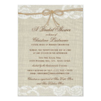 Country Rustic and Lace Wedding Bridal Shower 5x7 Paper Invitation Card