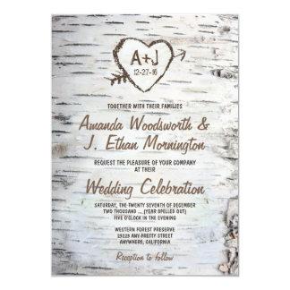 Birch Tree Heart Wedding Invitations