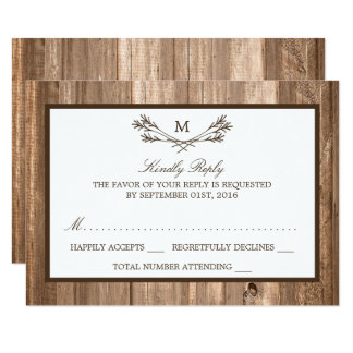 Horseshoes Lace Wood Rustic Country Wedding Card