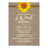 Country Sunflower & Twine Burlap Sweet Sixteen Card