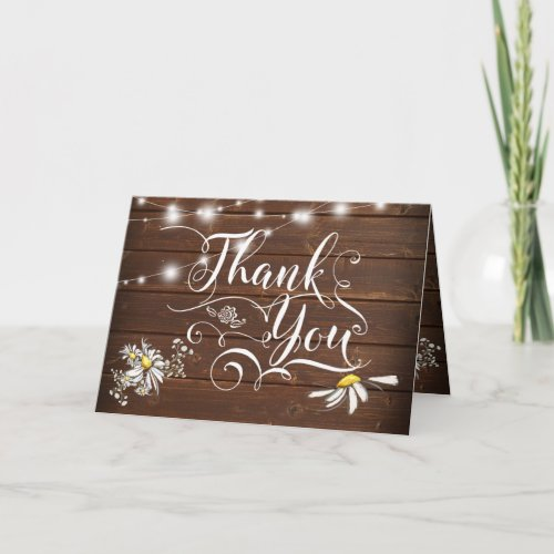 Country Wedding Mason Jar Daisies BarefootBride™ Thank You Card