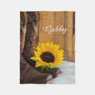 Country Western Sunflower Fleece Blanket